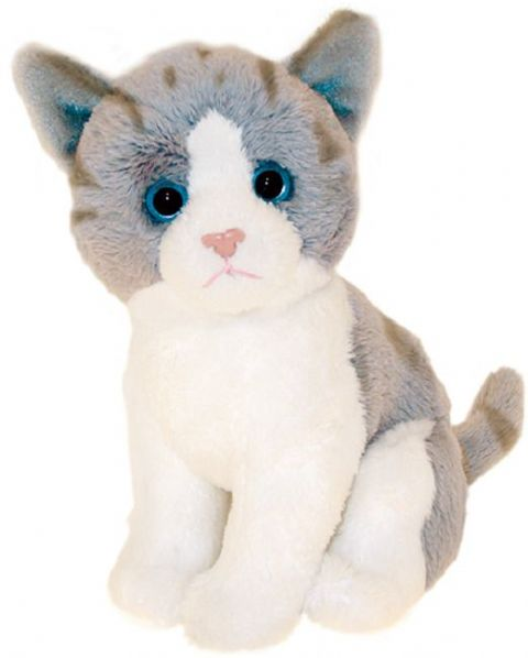 "Grey and White Cat Kitten sitting Cuddly 6.5"" pocket toy"